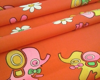 Red-Orange children's wool kimono fabric with Elephants, dogs and flowers  - by the yard
