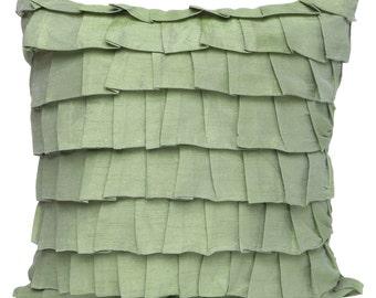 Pale Green Ruffles Pillow Cover Guilford Green Ruffle Euro Sham Green Texture Pillow 14x14 16x16 18x18 20x20 22x22 24x24 26x26