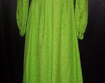 Vintage VIBRANT Green 1960's Boho Hippie Dress / Gown 36