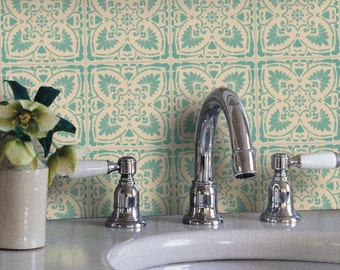 Tile Decals - Tiles for Kitchen/Bathroom Back splash - Floor decals - Traditional Mexican Foglio Vinyl Tile Sticker Pack color Mint