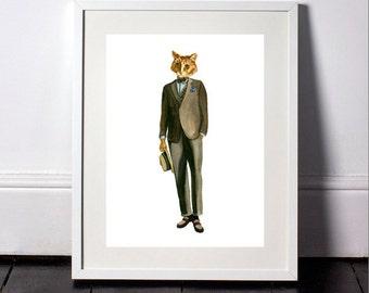 Cat in suit-animals in clothes-watercolor art print-cat watercolor painting-dressed cat-modern art print-fashion illustration-dressedfur