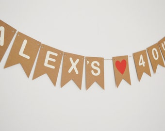 Personalised Birthday Bunting, Birthday Party Decorations, Custom Name Birthday Banner, Any Age, 30TH, 40TH, 50TH, 60TH