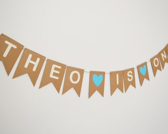 Personalised First birthday bunting Personalized 1st birthday banner Custom name bunting Childrens birthday party Birthday party decoration