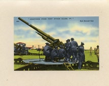VT Colchester Fort Ethan Allen Vermont Linen Postcard View of Military Anti Aircraft Unit Unused Linen Color Tichnor Brothers - 6526P