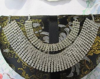 Statement Rhinestone Necklace and Bracelet