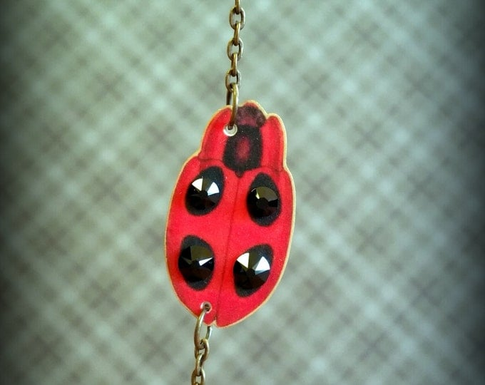 Lady Bug Necklace - Lady But Jewelry - Bug Necklace - Insect Jewelry - Lucky Ladybug - Red Ladybug - Shrinky Dink Necklace - Art