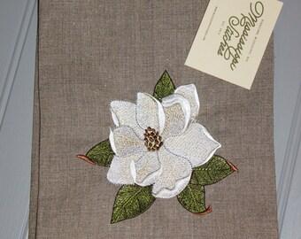 Linen Tea Towel - Floral Tea Towel - Magnolia Tea Towel