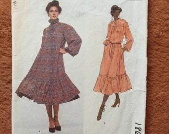 Vogue Paris Original Pattern, Yves Saint Laurent Dress, high ruffle neck size 10