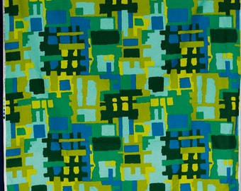 House n Home fabrics royal blue turquoise chartreuse and green midcentury pattern abstract geometric