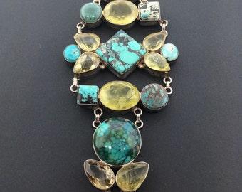Unique Turquoise & Citrine Sterling Silver Bracelet