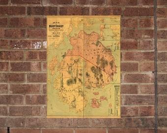 Mount Desert Island National Park  Map Wall Poster Vintage Print 1887