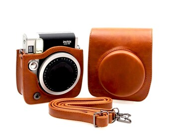 Fujifilm Instax Mini 90 Camera Bag Brown Leather Protection Case