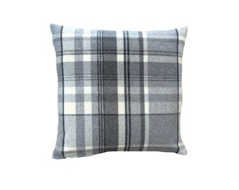 Skye tartan check faux wool grey scatter cushion cover hand made in Britain
