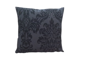 Stunning hand made cushion cover, made from Black on Black Damask fabric