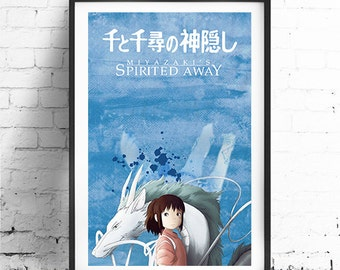 SPIRITED AWAY -Original Design, Miyazaki Inspired Minimalist Movie Poster Print 24 x 36""