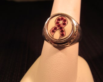 Sterling Silver Breast Cancer Awareness Ring - 9