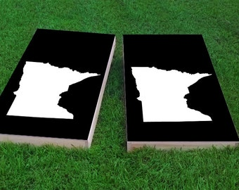Black Minnesota Themed 2x4 Custom Cornhole Board Set with bags | Custom Corn Hole | Bag Toss | Corn Toss | Bean Bag Toss