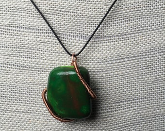 Faux Square Natural Looking Stone, Polymer clay Pendant, Necklace-18 inches (46 cm)
