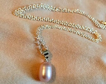 Pink Pearl  Silver Necklace