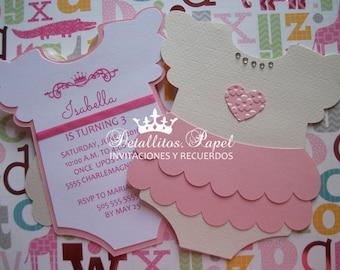 Baby shower Invitation, Onesie invitation girl, Baby shower invitation girl, Tutu invitation, Onesie tutu invitation