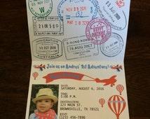 Vintage Airplane passport invitation- airplane- hot air balloon-Kids Birthday Party Invitation- set of 15