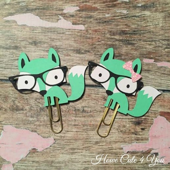Green Fox Page Clip Planner Clip Bookmark FiloFax Erin Condren Day Planner Kikki K Plum Paper Planner Inkwell Press
