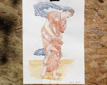 Original illustration watercolour painting- A4 - Pre Raphaelite Beachcomber