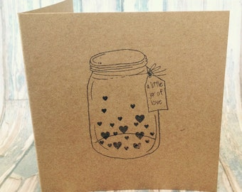 Little jar of love hand stamped card