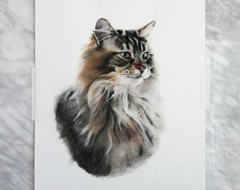 Large Custom Cat Portrait Painting