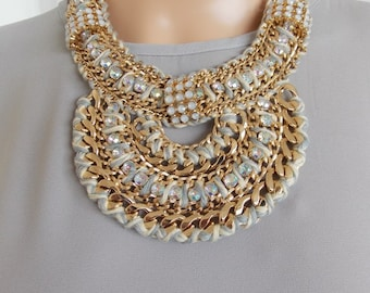 Chunky Egyptian Style Jewelled Statement Necklace