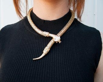 Gold Vintage Style Cleopatra Snake Necklace