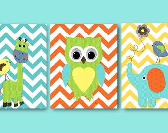 Owl Wall Decor Instant Download Print Playroom Art Printable Art Digital Download Elephant Nursery Baby Boy Nursery Art set of 3 8x10 11X14