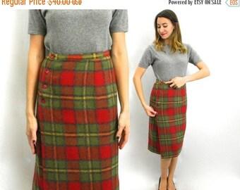 Summer SALE 60s Plaid Skirt Green Red | Medium