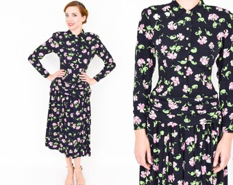 40s Rayon Dress | Black Pink Floral Print Dress | Extra Small