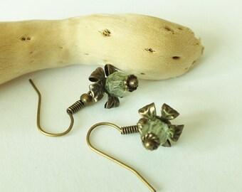 Green Fire Polished Flower Earrings