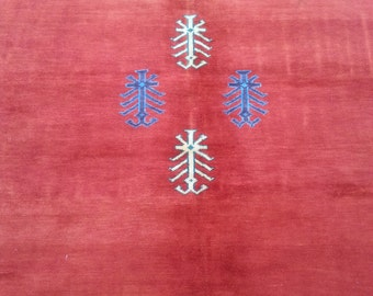 Size:8 ft by 7 ft Handmade Gabbah Rug Vintage Thick Moroccan Rug