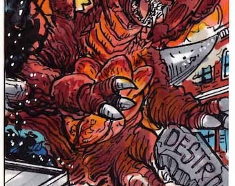 Destroyah #3 Personal Sketch Card Giant Monster Kaiju Beast Collectors Item Gift Item