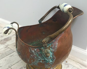 Vintage Copper and  brass verdigris patina planter coal/wood  scuttlebucket