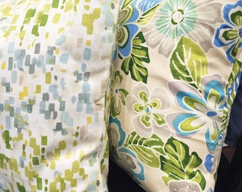 Green and blue throw pillow cover 20x20 Decorative Throw Pillow