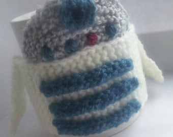 Hand knit r2d2 cup cosy