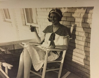 1920's or 1930's B&W Photograph, Young Woman with Drink on a Front Porch