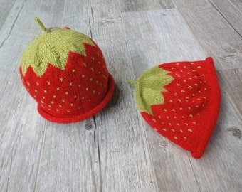 Cashmere/Silk Strawberry Newborn Hat, hand knit, super soft