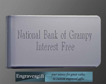 personalized engraved money clip, your message engraved for 12.95
