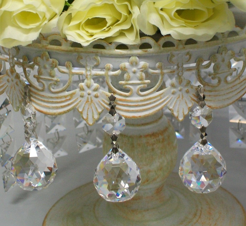 Set of 3 hanging crystal ball cake decoration chandelier for Balloon chandelier decoration