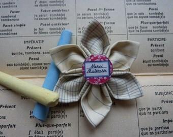 "Kanzashi brooch flower printed fabric school notebook , center a black board cabochon ""Thank you Mistress "" - Mistress Gift"