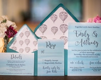 Teal Watercolor Wedding Invitations | Printable or Professionally Printed | Wedding Invitation Suite
