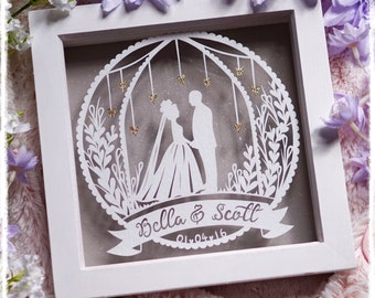Happily Ever After - Wedding, Anniversary, Personalised Paper Cut Keepsake