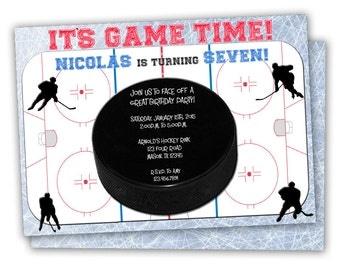 Hockey Invitation - Hockey Birthday Invitations - Hockey Party Invite - Boy Hockey Invitations - Sports Birthday Invites - Ice Rink Skate