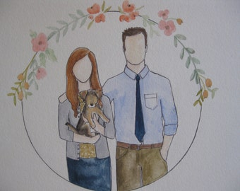 Family, couple, or individual watercolor portraits
