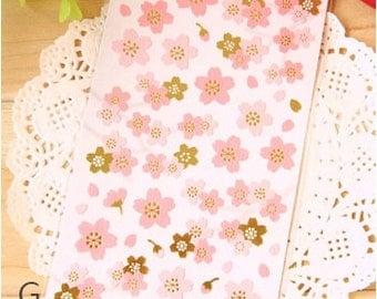 1 Sheet Japanese Sakura Cherry Blossom Chiyogami Stickers - Japanese paper sakura cherry blossom stickers-Pink Flower Chiyogami Stickers